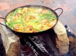 Rabbit, chicken, snap peas paella.